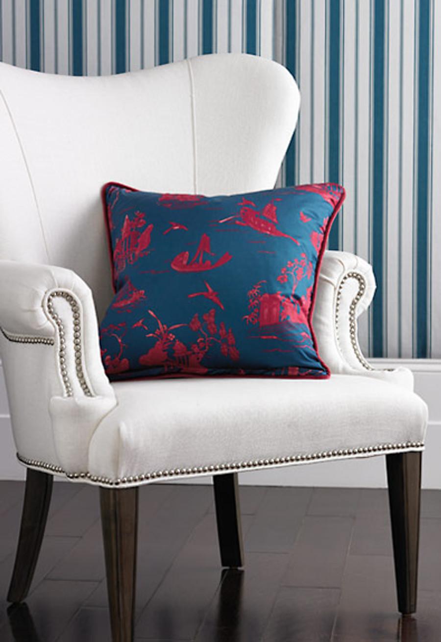 Coromandel in Prussian Blue/Rouge on Pillow