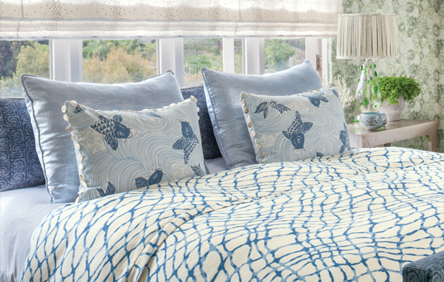 Coverlet is Waterpolo-5 Front Pillows Upstream, Back Pillows 33416-15.  Upholstered Bed and Pillows 33411-5.   Roman Shade 3950-101