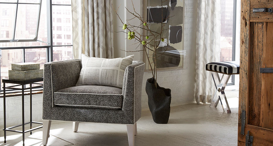 Drapes in Soto Sterling, Chair in Hollister Graphite, Pillow in Templin Pewter