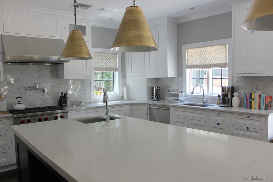 Roman Shades in La Fiorentina Lighter Grey with Off White Background.