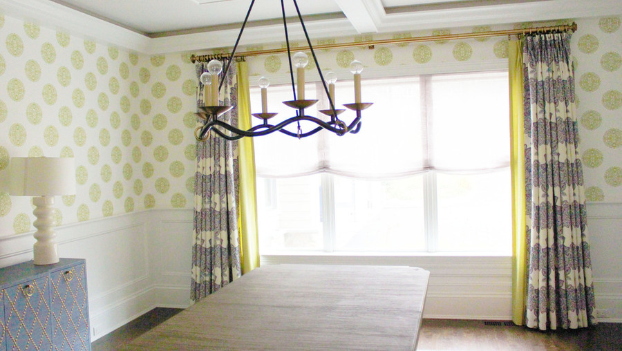Drapes in Duralee Maris Currant 21076 338.  2nd Layer of Drapes in Fabricut Classic Chintz Light Green 41.  Sheer Relaxed Roman Shade in Donghia Maestro Linen Scrimm Lavender.  Thibaut Halie Circle Wallpaper Green T36171. (Designed by id 810 Design Group)