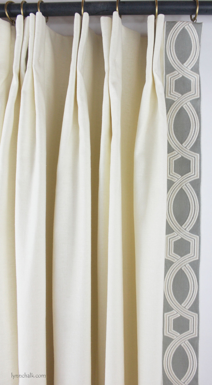 Drapes in Trend 01838T 07 with Samuel & Sons Ogee Embroidered Trim