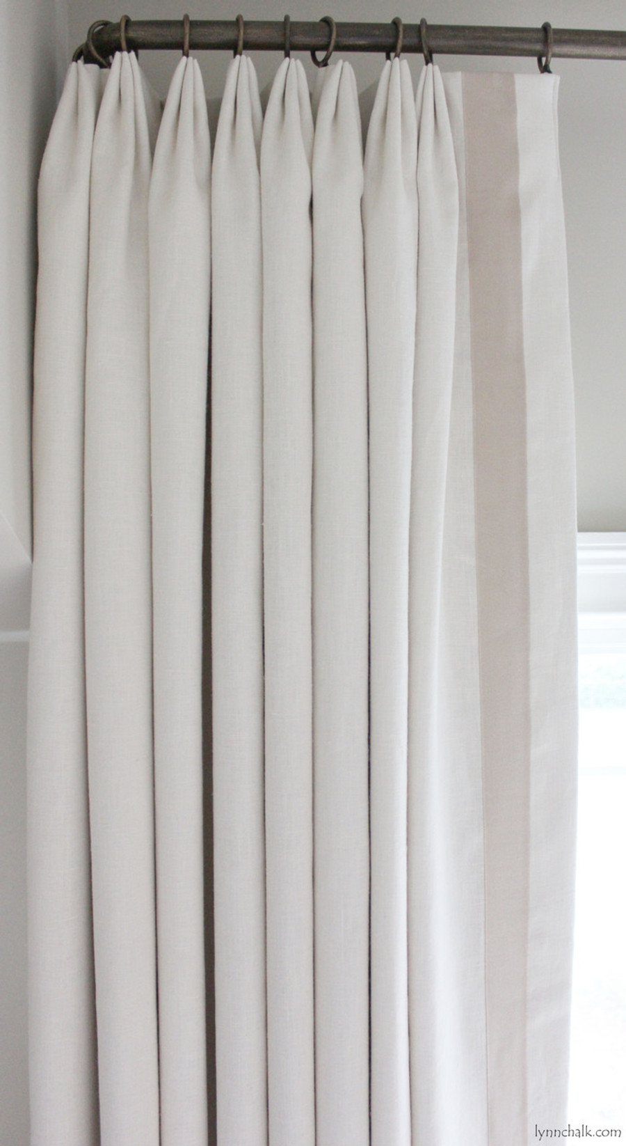 Custom Euro Pleated Drapes in Kravet Dublin Linen (Comes in Over 50 Beautiful Colors) with Samuel & Sons Grosgrain Trim Sand