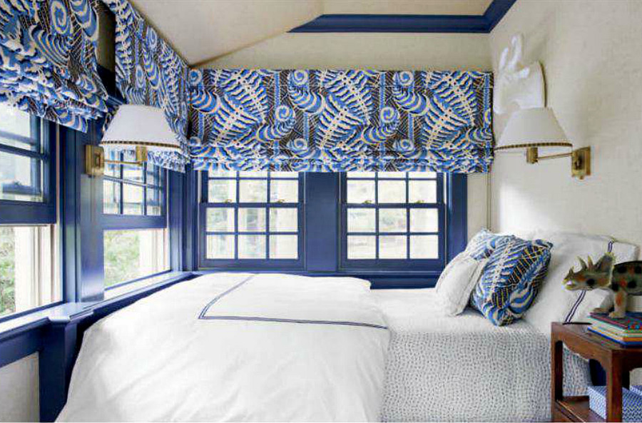 Roman Shades in Quadrille Ferns Blues Beige on Tint (Sara Gilbane House Beautiful Feb. 2014)