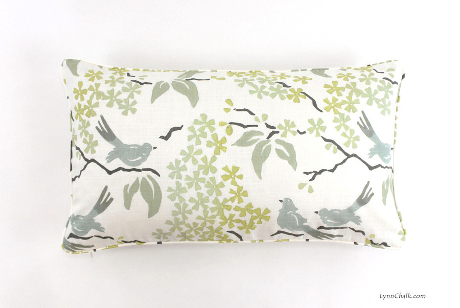 Custom Pillow with welting by Lynn Chalk in Galbraith & Paul in Birds 14 X 24