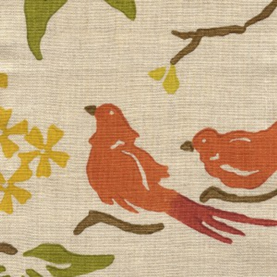 Birds in Pumpkin on Natural Linen