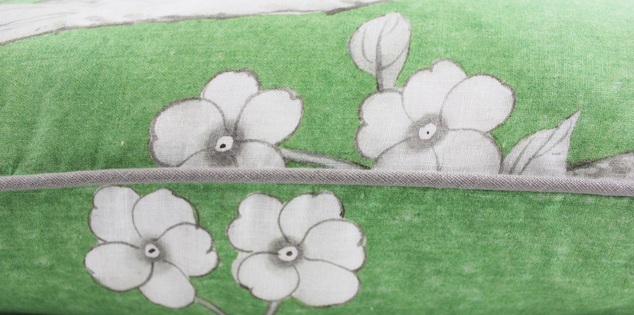ON SALE Schumacher Mary McDonald Chinois Palais Pillows in Lettuce w/Grey Welting (24 X 24-Only 1 Pillow Remaining)