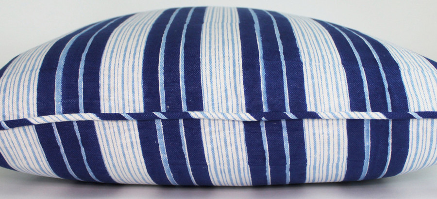 ON SALE John Robshaw Vintage Stripe Pillows with Self Welting (20 X 20 in Indigo) Only 1 Remaining