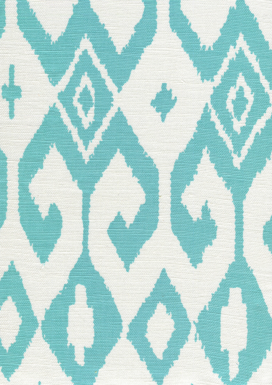 Quadrille Alan Campbell Aqua II 7230-04 Turquoise on White