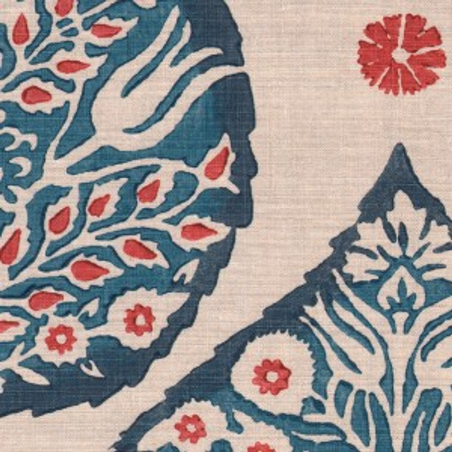 Lotus in Lapis on Natural Linen