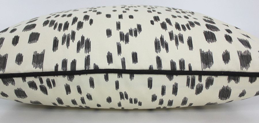 Les Touches Pillow in Black with contrasting black welting