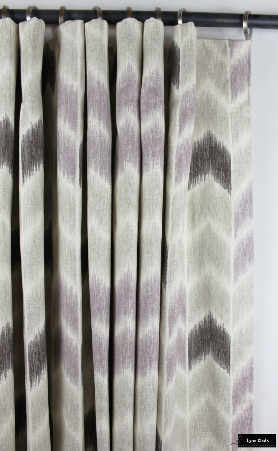 Custom Drapes with Cartridge Pleats in Fabricut Noho Lavender