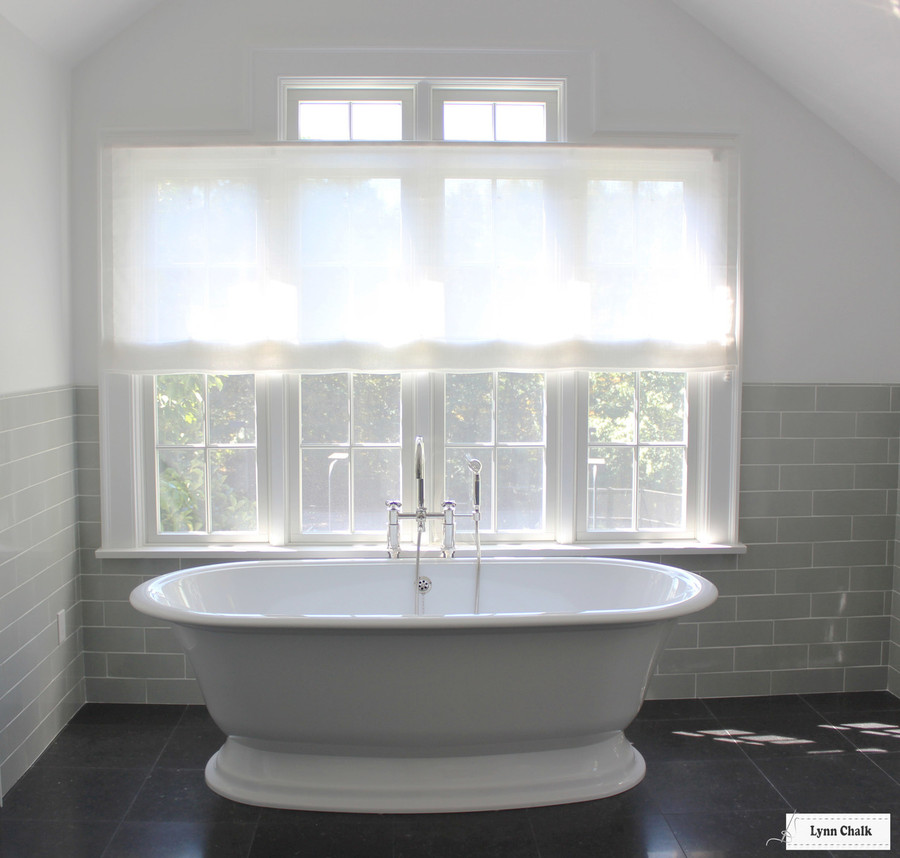 Bathroom Roman Shade Holland & Sherry Amalfi White Trevira Sheer
