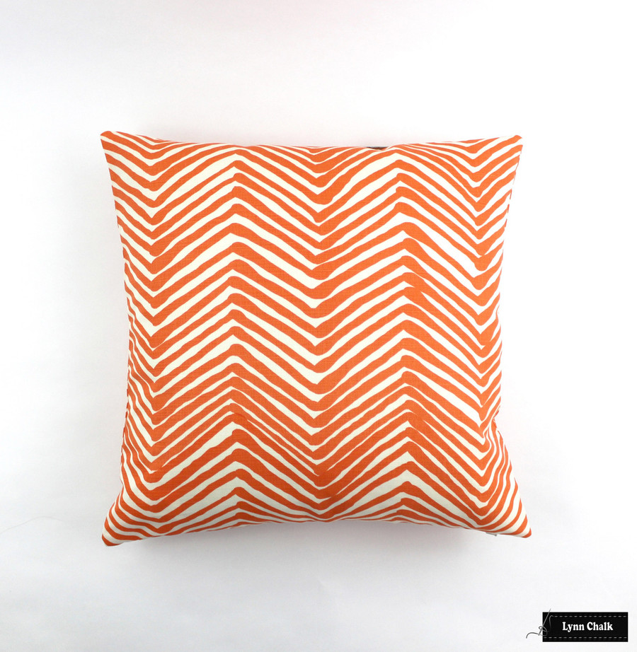 """ON SALE Quadrille Alan Campbell Zig Zag Pillow in Orange on Tint (22"""" X 22"""") There are only 2 Remaining at this Sale Price"""