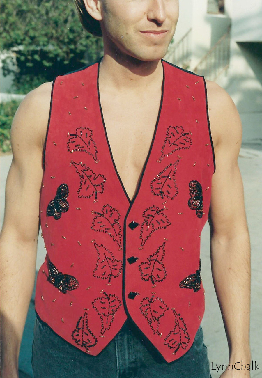 Suede Hand Beaded Vest with Black Glass Buttons