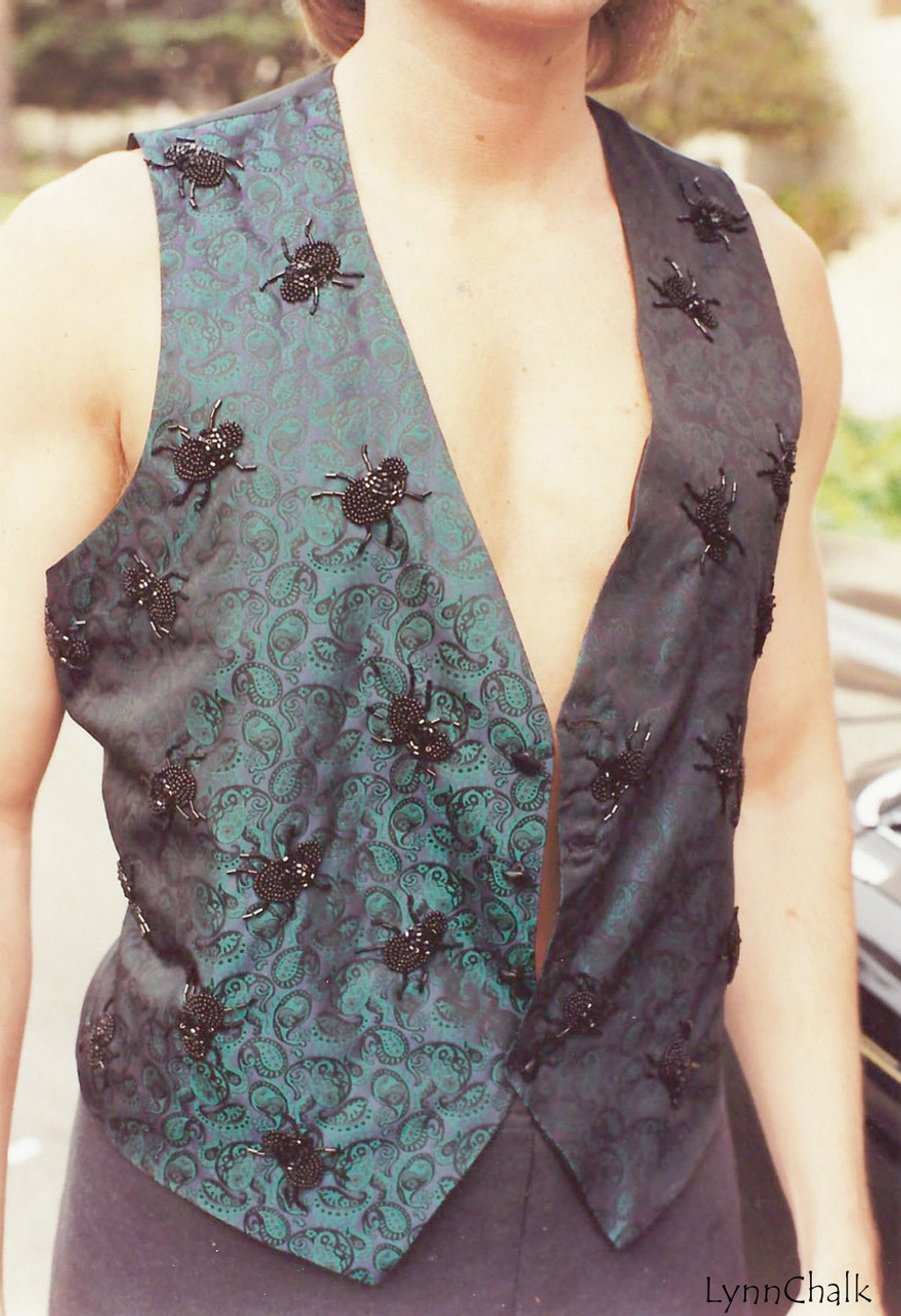 Paisley Silk Hand Beaded Vest with Spiders and Black Glass Buttons