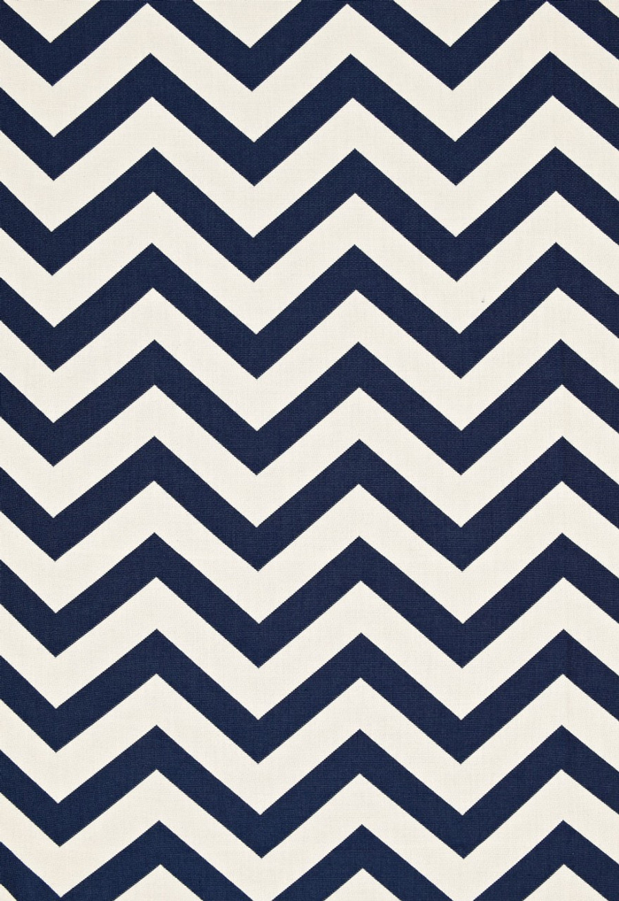 Pillow Schumacher Antibes Chevron Navy