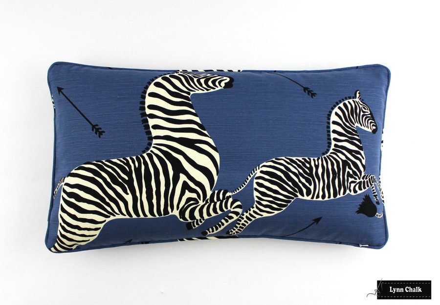 Zebras in Denim Blue Pillows 14 X 24