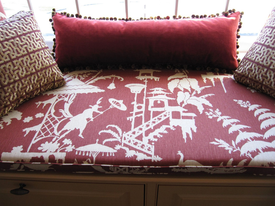 Cushion and Pillow in Barbara Barry Indo Night-Lantern, Other Pillows in Barbara Barry Ceylon Key Imperial and Kravet Velvet 29429-24 with Kravet Tassel Trim TL10069-94