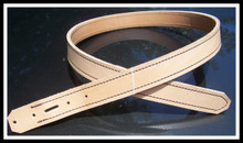 Do-it-yourself gun belt strap is single stitched with brown thread.  The edges are sanded to create a smooth, even edge.