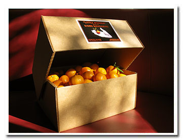 Our beautiful gift box comes loaded with Certified Organic seedless Kishu Mandarins, plus an insert card.