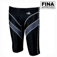 Yingfa 9402-2 Black/Gray Lightning Arrow Sharkskin Men's Jammers -Fina Approved