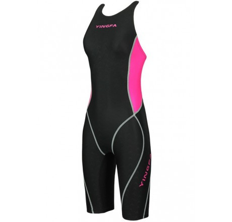 YINGFA YFW953-1 WOMEN'S SHARK SCALE KNEESKIN TECHNICAL SWIMSUIT - BLACK/PINK