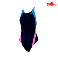 Yingfa 976-2 Aquaskin Costume Women's Swimsuits - Black/Skyblue/Pink