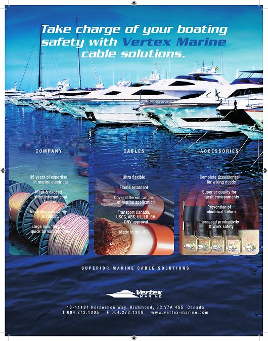 Vertex Marine ad for Pacific Yachting, Canadian Yachting and SEA Magazines
