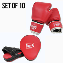 Boxing Kit: 10 x Focus Pads, 10 x Boxing Gloves