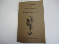 Western Electric Telephone Manual 317 Care and Operation
