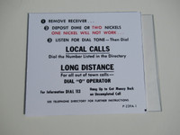 3 Slot payphone Middle instruction card White