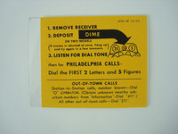 Payphone Instruction center  card and plastic Philidelphia