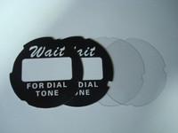 "Dial cards and lucite discs ""Wait for the dial tone"""