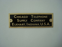 Chicago Telephone Brass nameplate