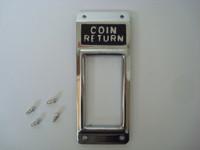 Gray ,  Automatic Electric ,Western Electric Open slot coin return Escutcheon w drive screws Chrome