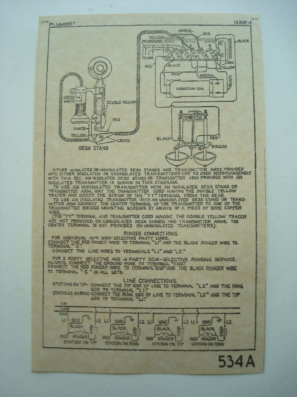 534 subset ringer box    wiring       diagram    glue on  Old    Phone