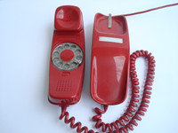 Red  Rotary  Trimline telephone Western Electric Original