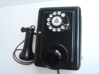 Antique working 1920 Western Electric wall telephone 553 A candlestick