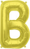 "16""  Gold Letter B Air-Fill  Mylar Foil Balloon"