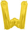 "16""  Gold Letter W Air-Fill  Mylar Foil Balloon"