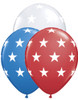 "11"" Big Stars Patriotic Assortment Latex Balloons"