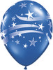 "11"" Patriotic Stars & Stripes Sapphire Blue  Latex Balloons"