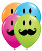 "11"" Smiley Face Mustache Assortment Latex Balloons"