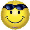"18"" Smiley Face With Glasses Mylar Foil Balloon"