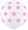 "36"" Big Standard Pink Polka Dots on White Latex Balloons"