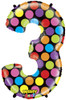 """40"""" Megaloon Mighty Bright Number 3  Mylar Foil Balloon"""
