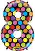 "40"" Megaloon Mighty Bright Number 8  Mylar Foil Balloon"