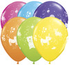 """11"""" Cute & Cuddly Pets Birthday Tropical Assortment Latex Balloons"""