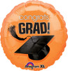 "17"" Congrats Grad (Graduation) Hat Orange Foil Balloon"